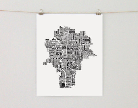 Syracuse New York Typographic Map