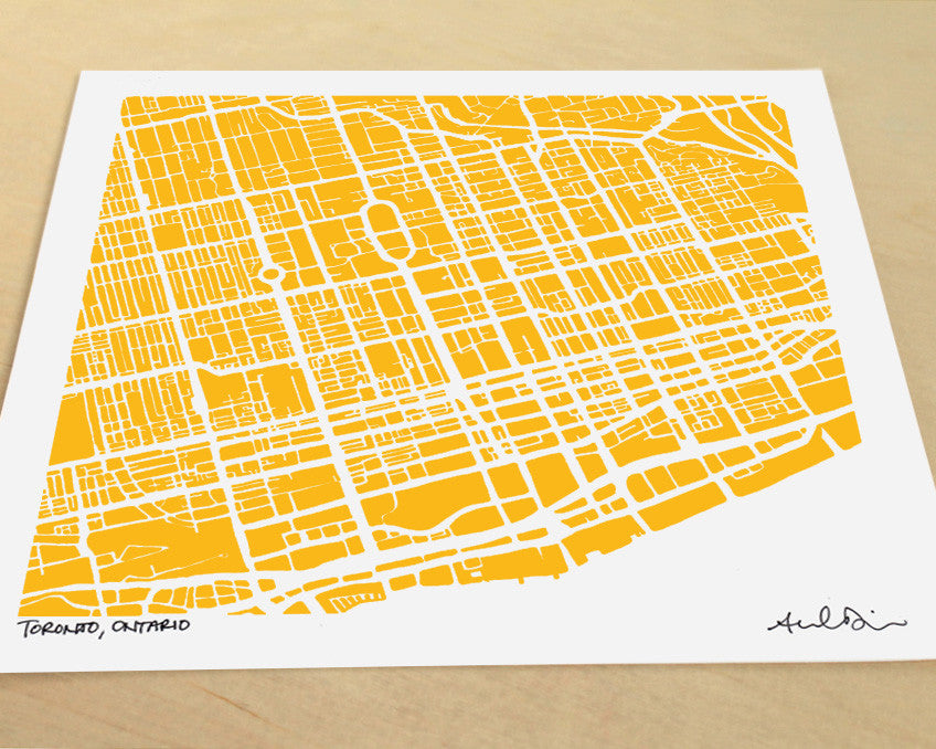 Toronto Ontario Hand-Drawn Map Print - Salty Lyon - 1