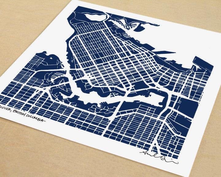 Vancouver British Columbia Hand-Drawn Map Print - Salty Lyon - 1