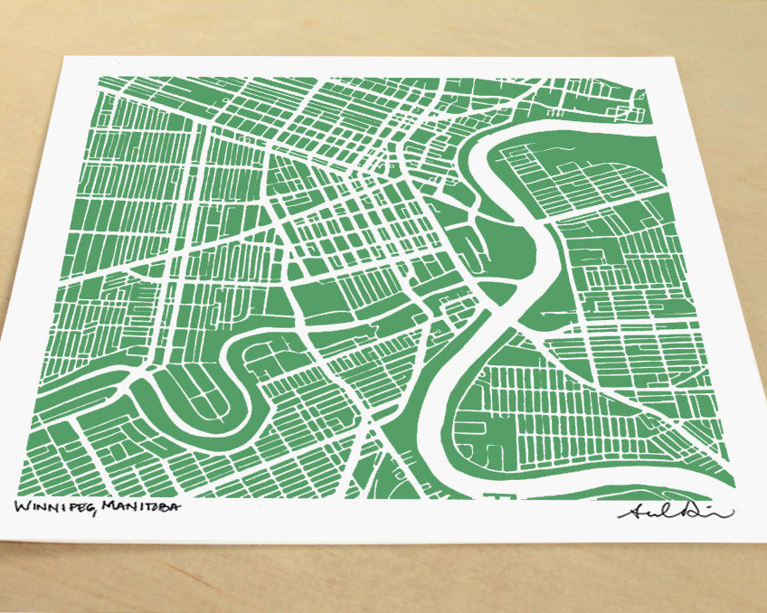 Winnipeg Manitoba Hand-Drawn Map Print - Salty Lyon - 1