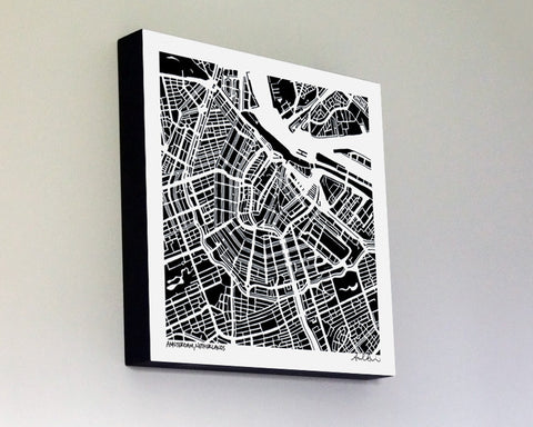 Amsterdam Netherlands Woodblock-Mounted Map Print