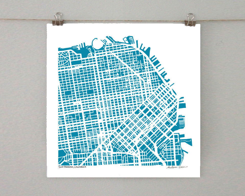 San Francisco NE: Hand-Drawn Map Print - Salty Lyon - 1