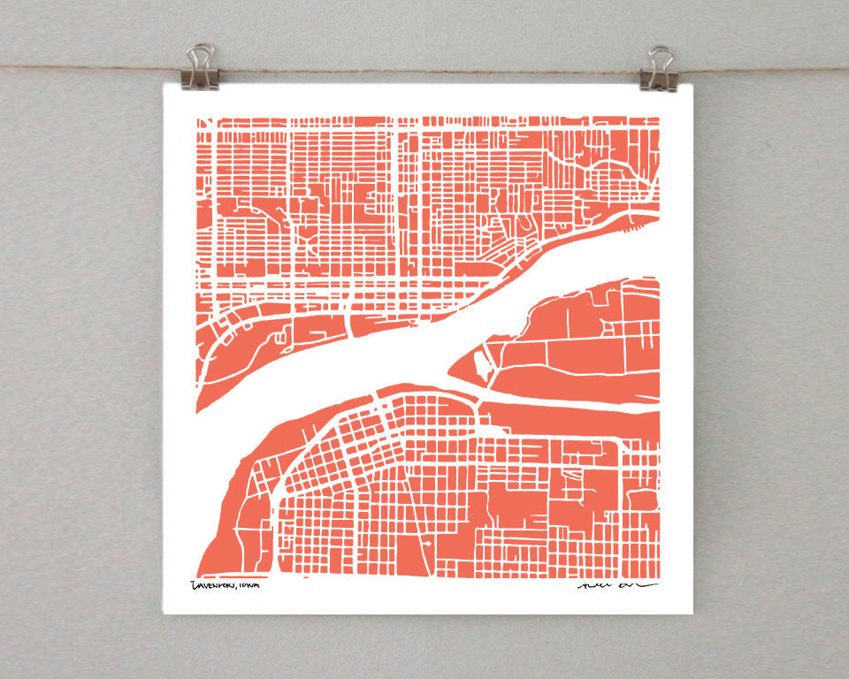 Davenport Iowa Hand-Drawn Map Print - Salty Lyon - 1