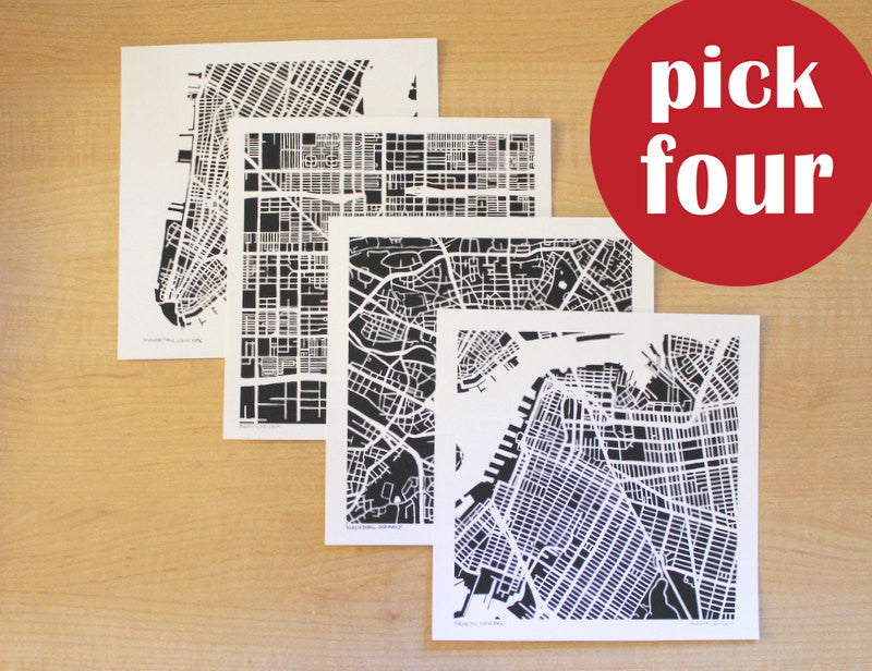 Any Four Hand-Drawn Map Prints - Salty Lyon - 1