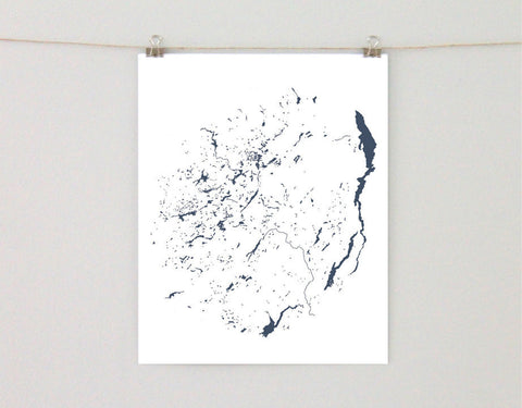 Adirondack Park Lakes Map, Hand-drawn Art Print
