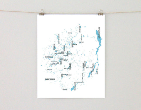 Adirondack Park Lakes Map, Typographic Art Print