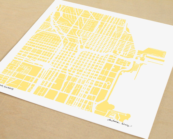 Chicago Illinois Hand-Drawn Map Print - Salty Lyon - 1