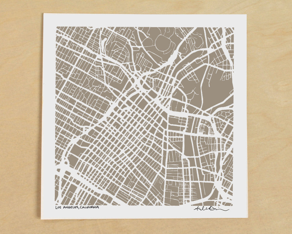 Los Angeles California Hand-Drawn Map Print - Salty Lyon - 1