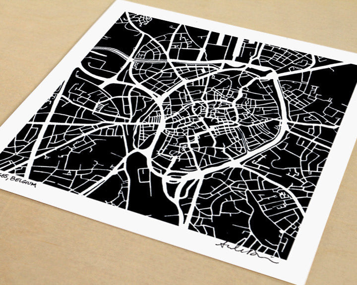 Bruges Belgium Hand-Drawn Map Print - Salty Lyon - 1