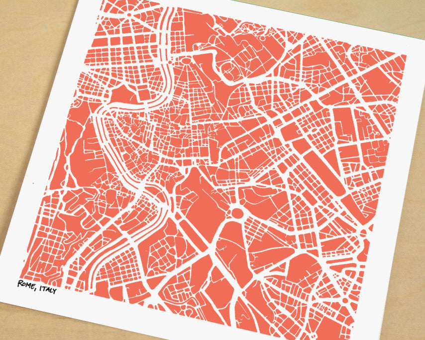 Rome Italy Hand-Drawn Map Print - Salty Lyon - 1