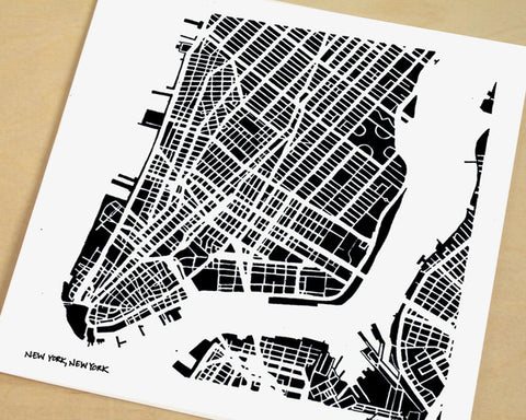 New York City, Lower Manhattan Hand-Drawn Map Print