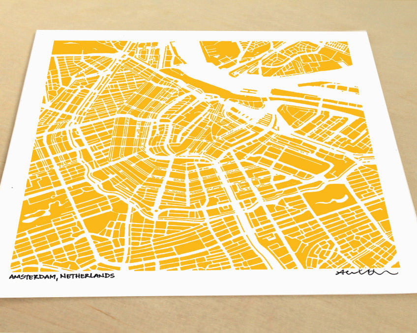 Amsterdam Netherlands Hand-Drawn Map Print - Salty Lyon - 1