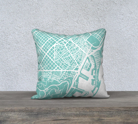 Barcelona Map Pillow in Tiffany