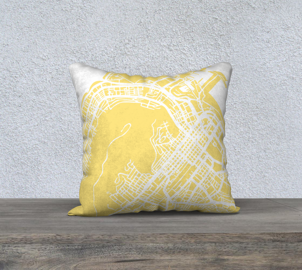 Cape Town Map Pillow in Yellow - Salty Lyon