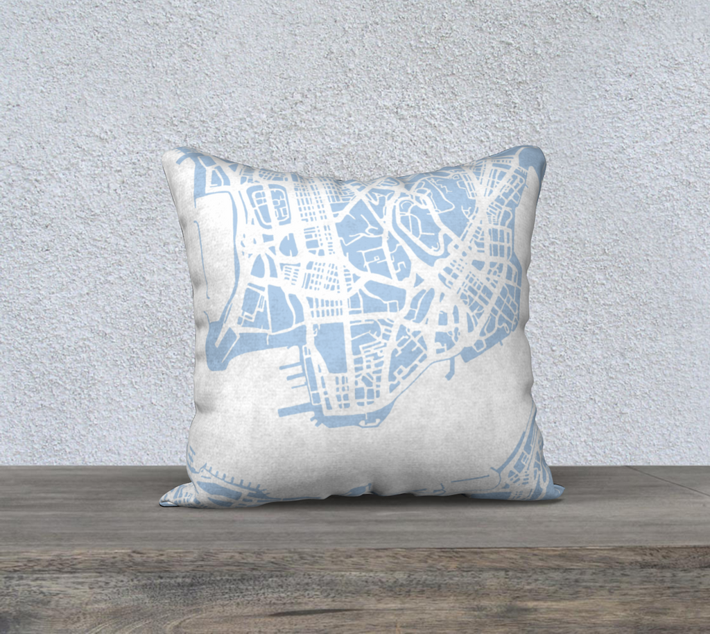 Hong Kong Map Pillow in Sky Blue - Salty Lyon