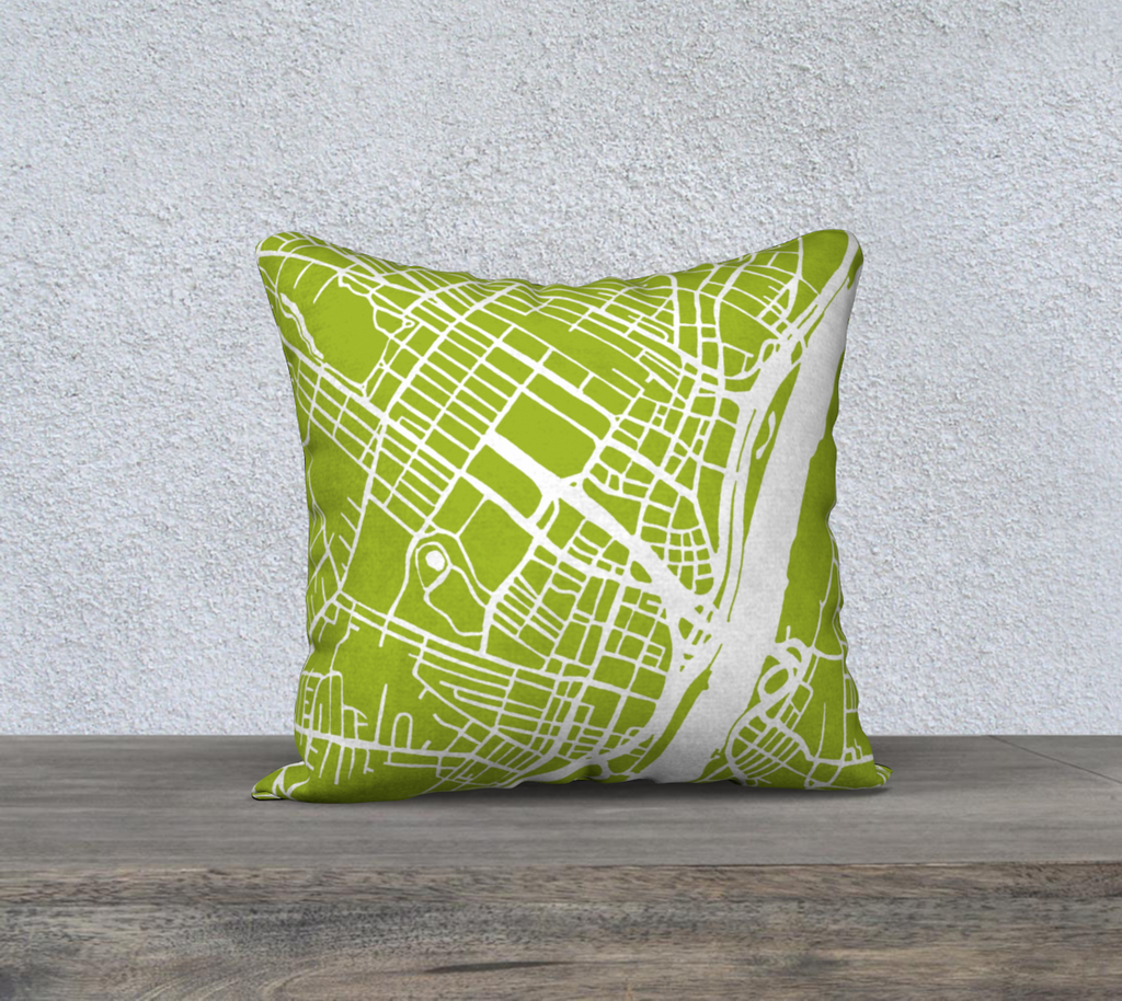 Albany Map Pillow in Lime - Salty Lyon