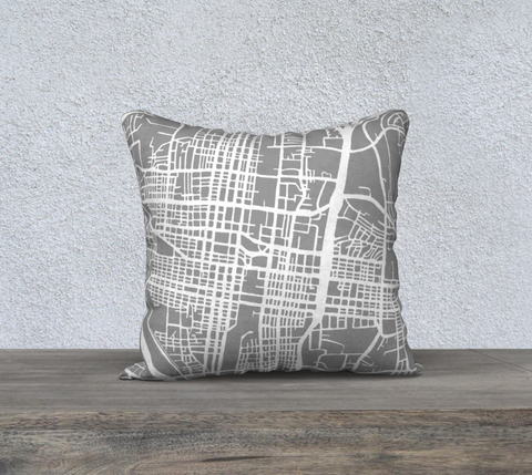 Albuquerque Map Pillow in Gray
