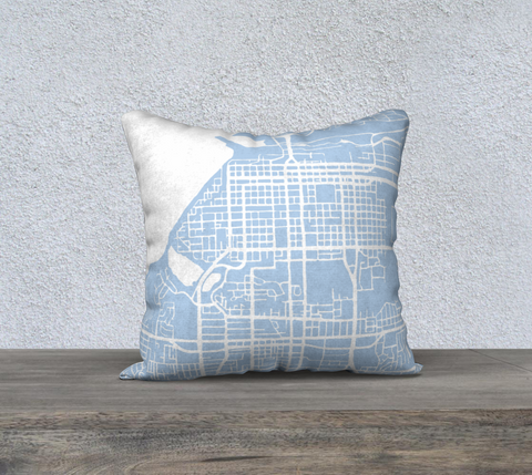 Anchorage Map Pillow in Sky Blue