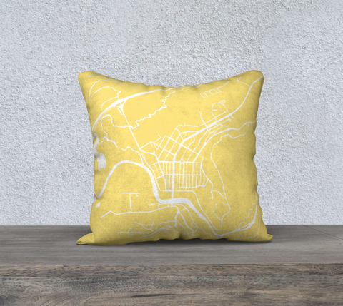 Banff Map Pillow in Yellow