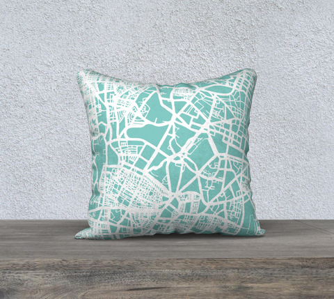 Bangalore Map Pillow in Tiffany