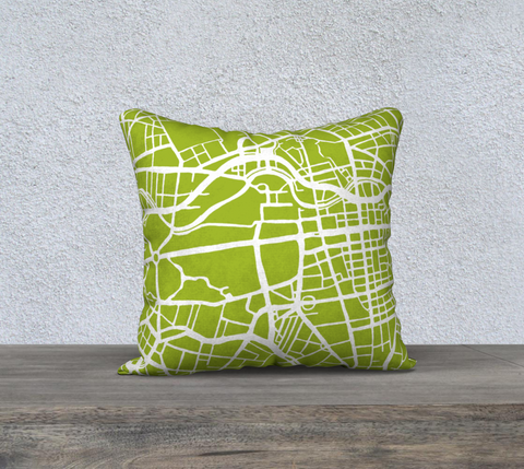 Berlin Map Pillow in Lime