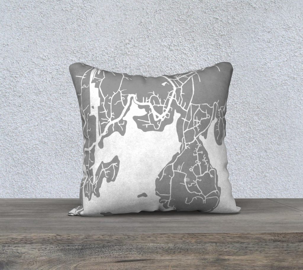 Boothbay Harbor Map Pillow in Gray - Salty Lyon