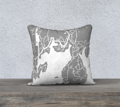 Boothbay Harbor Map Pillow in Gray
