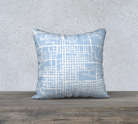 Bloomington Map Pillow in Sky Blue
