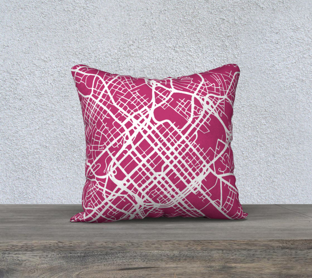 Charlotte Map Pillow in Magenta