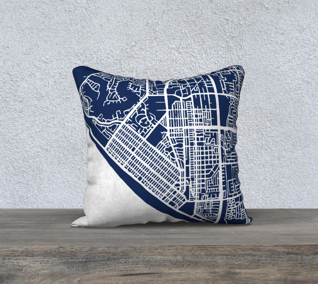 Huntington Beach Map Pillow in Navy