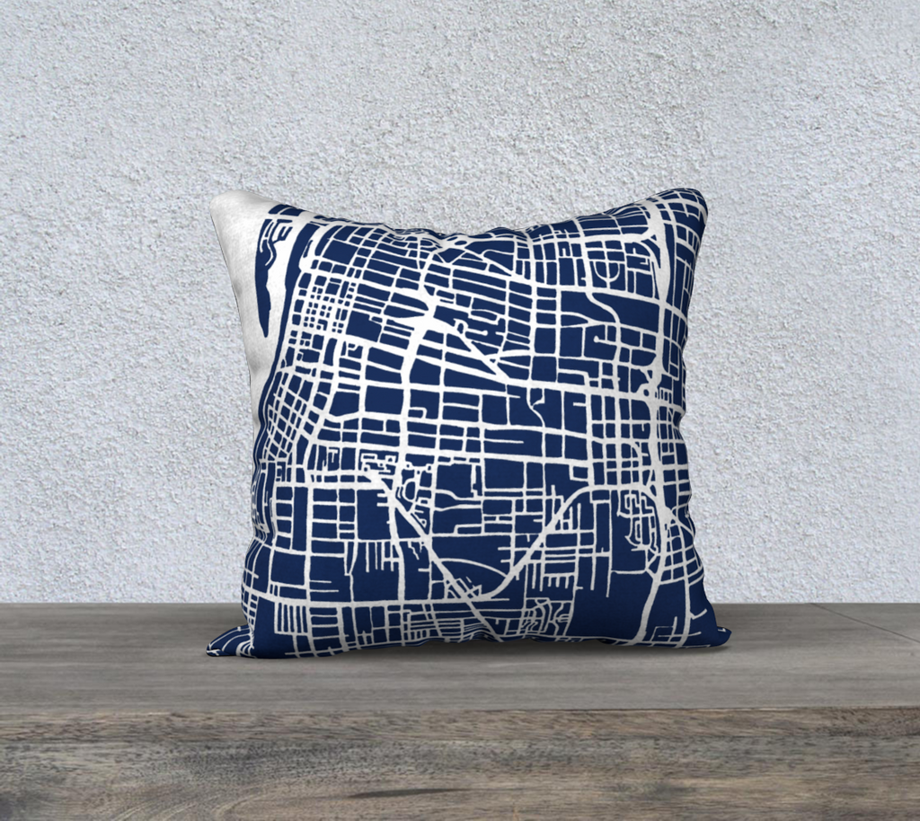 Memphis Map Pillow in Navy