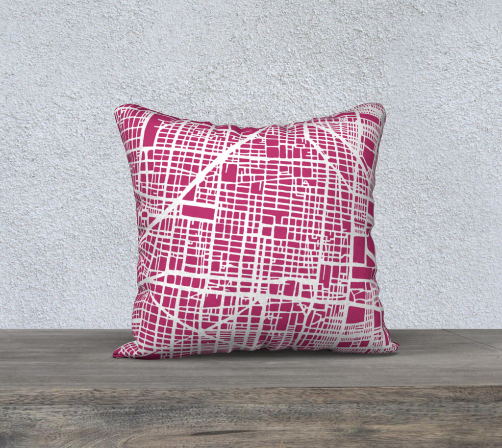 Mexico City Map Pillow in Magenta