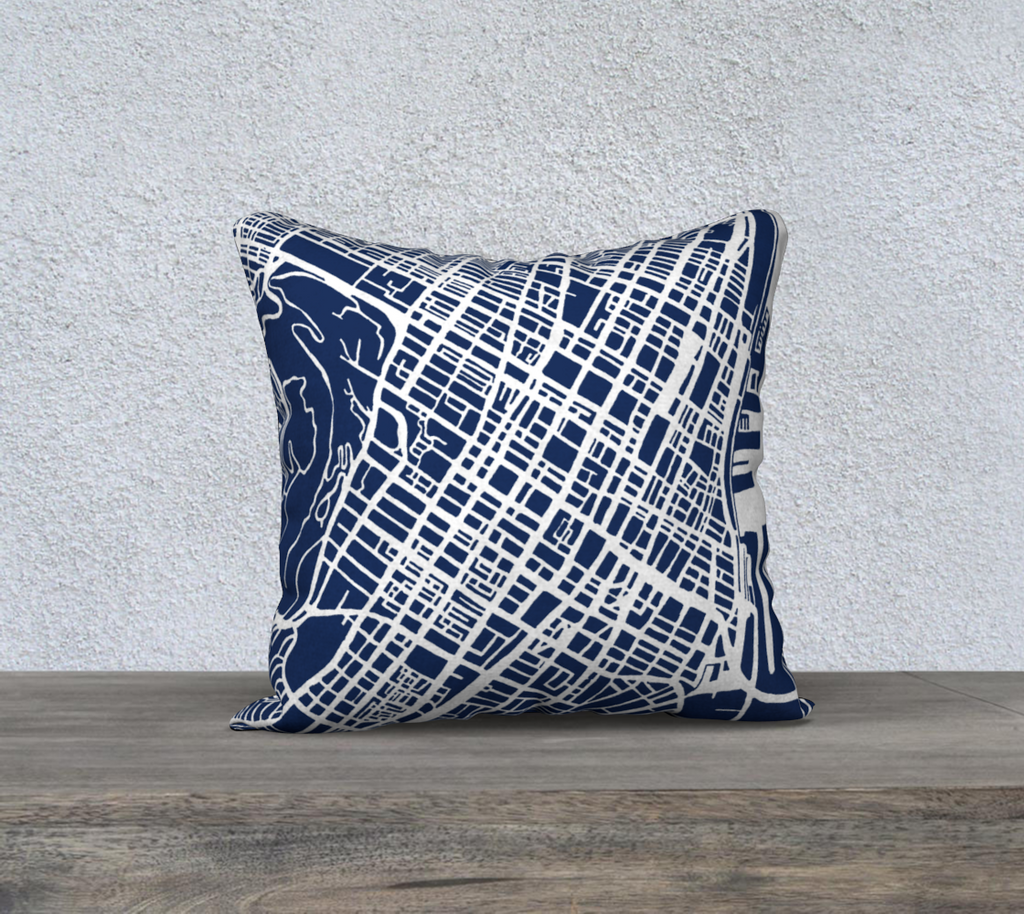 Montreal Map Pillow Cover in Navy