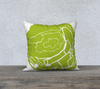 Mont Saint-Michel Map Pillow Cover in Lime
