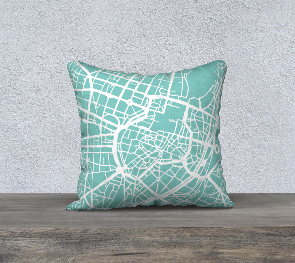 Munich Map Pillow Case in Tiffany