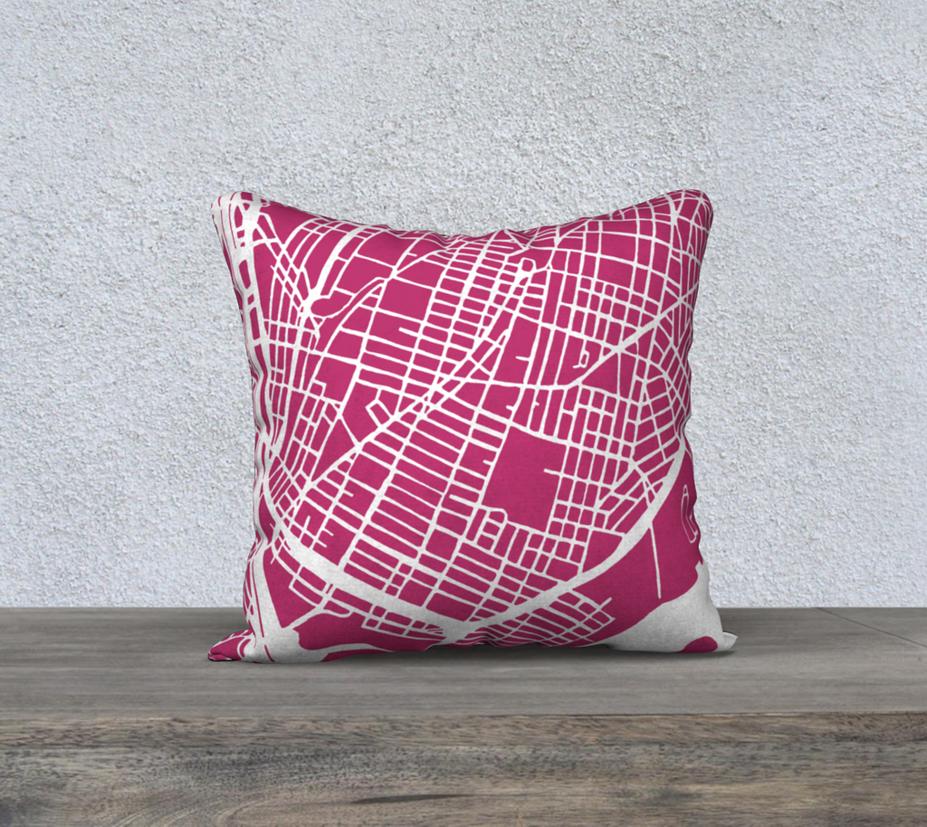 NYC- Bronx Map Pillow Case in Magenta