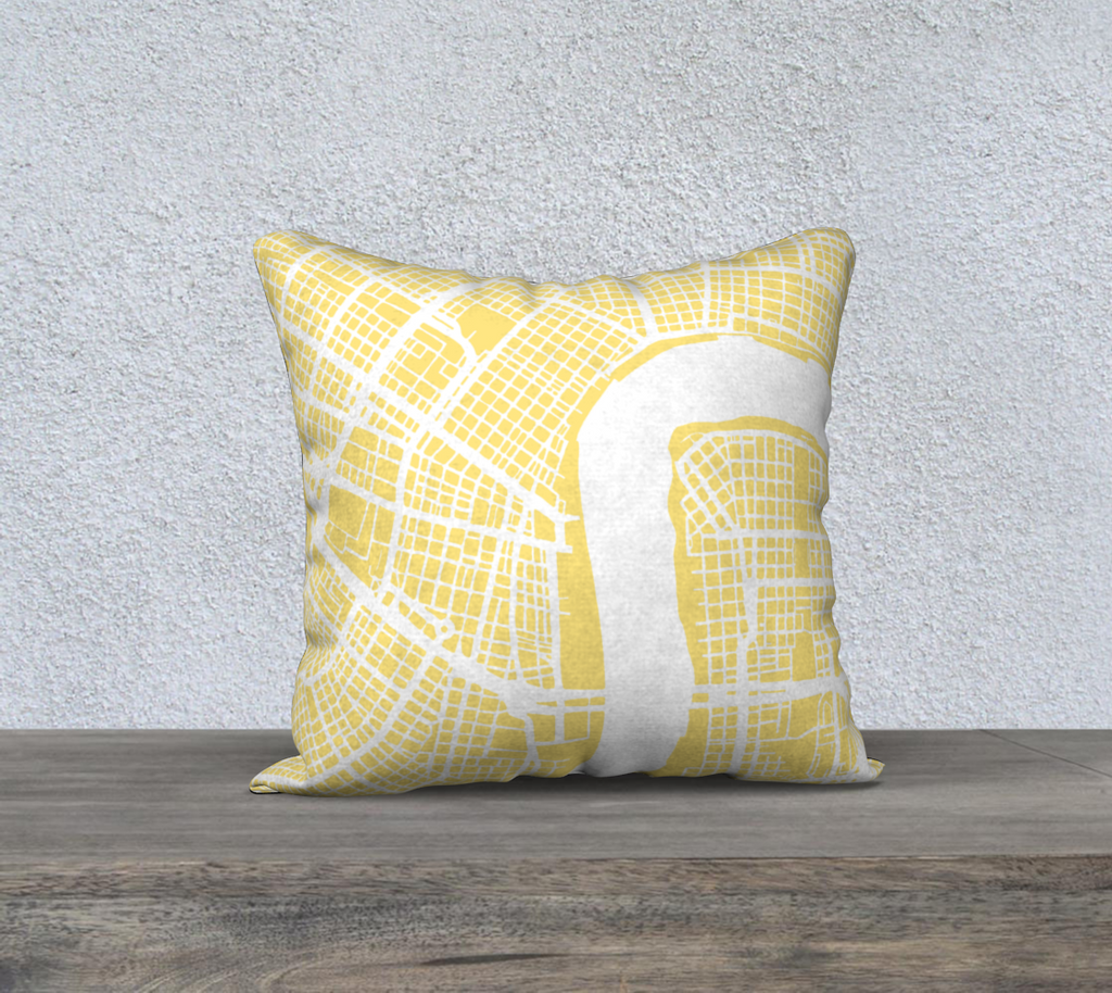New Orleans Map Pillow Case in Yellow