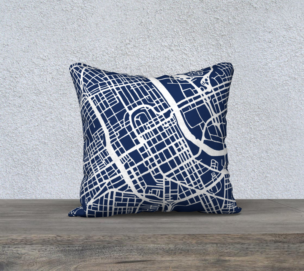 Nashville Map Pillow Case in Navy
