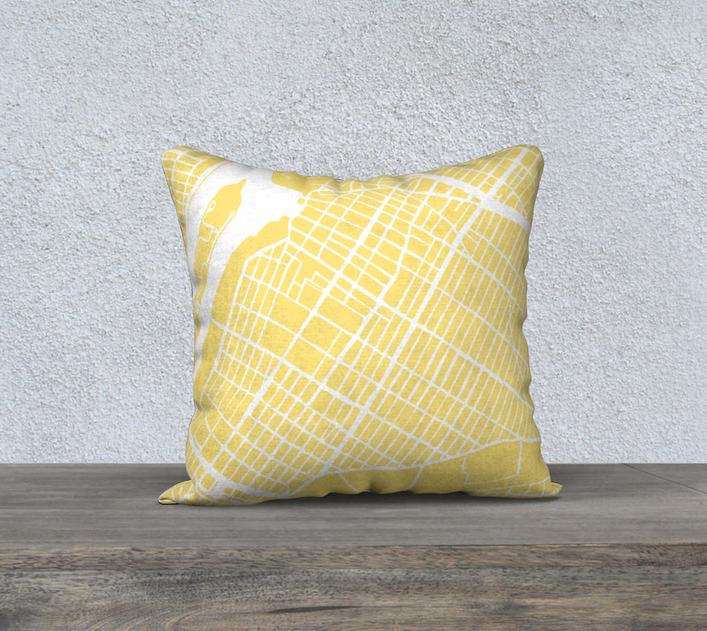NYC Queens- Astoria- Map Pillow Case in Yellow