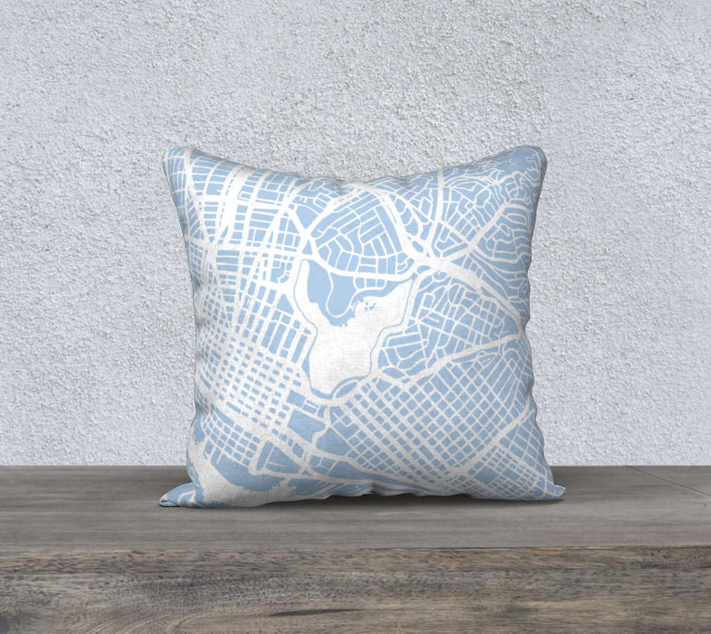 Oakland Map Pillow Case in Sky Blue