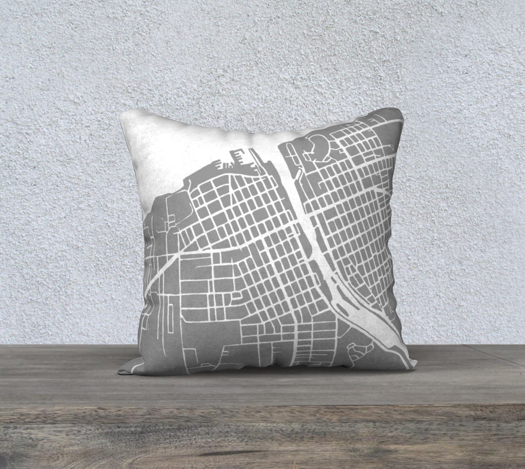Oswego NY Map Pillow Case in Gray