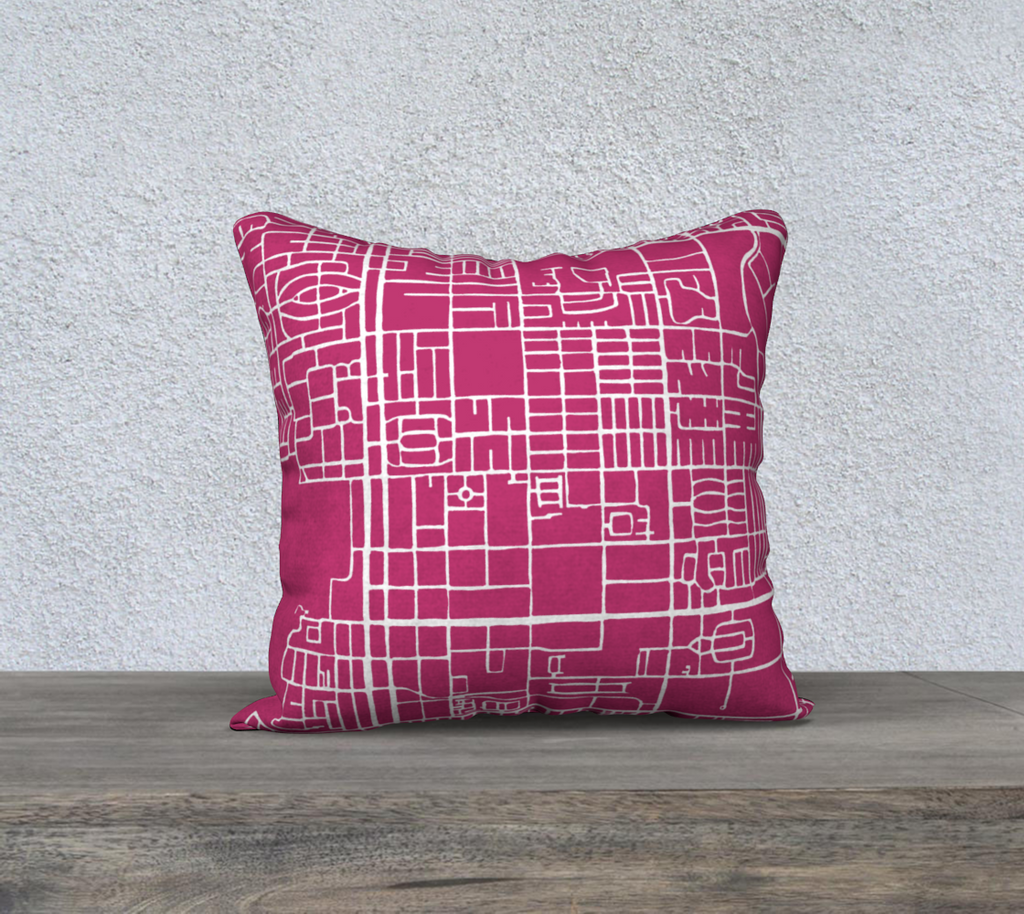 Palm Springs Map Pillow Case in Magenta
