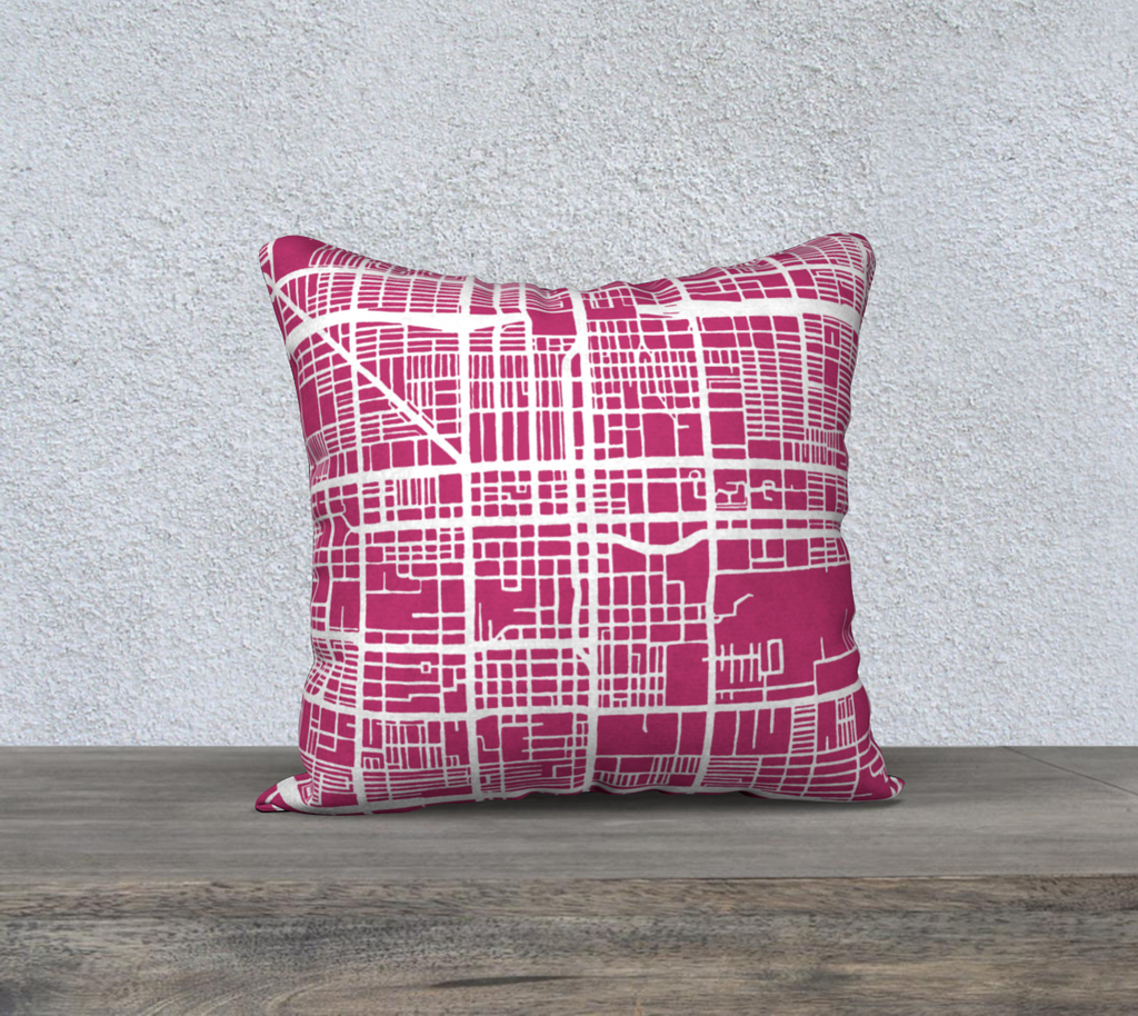 Phoenix Map Pillow Cover in Magenta