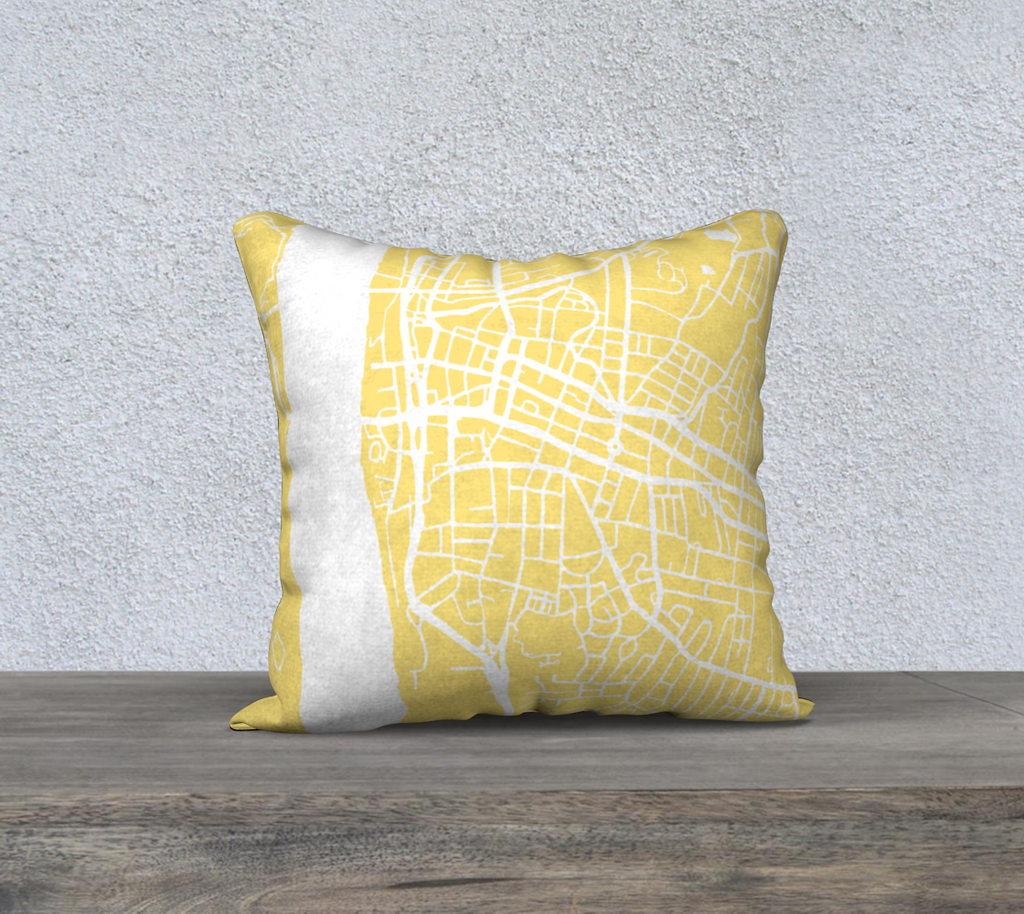 Poughkeepsie Map Pillow Cover in Yellow