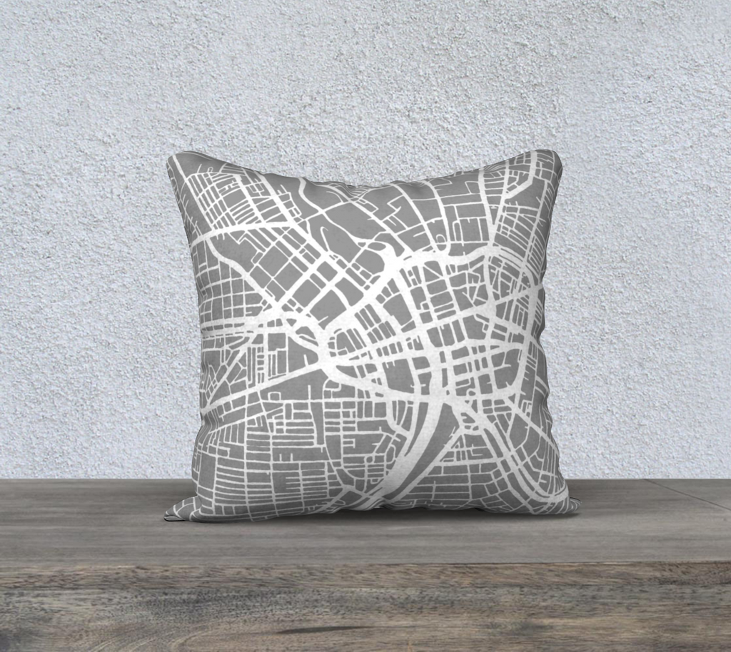 Rochester Map Pillow Cover in Gray