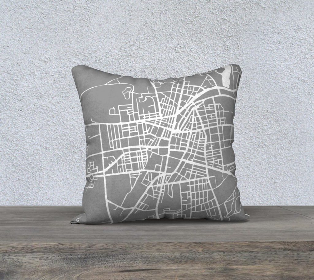 Saratoga Springs Map Pillow in Gray
