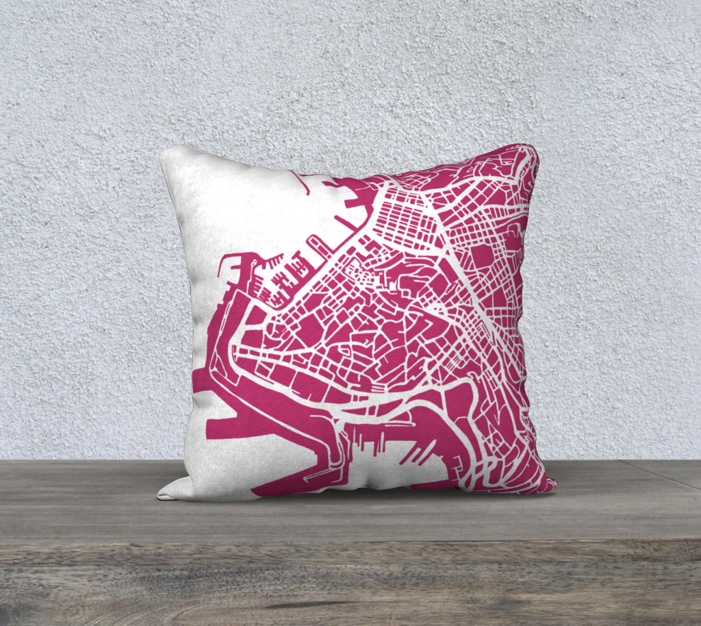Trieste Map Pillow Cover in Magenta