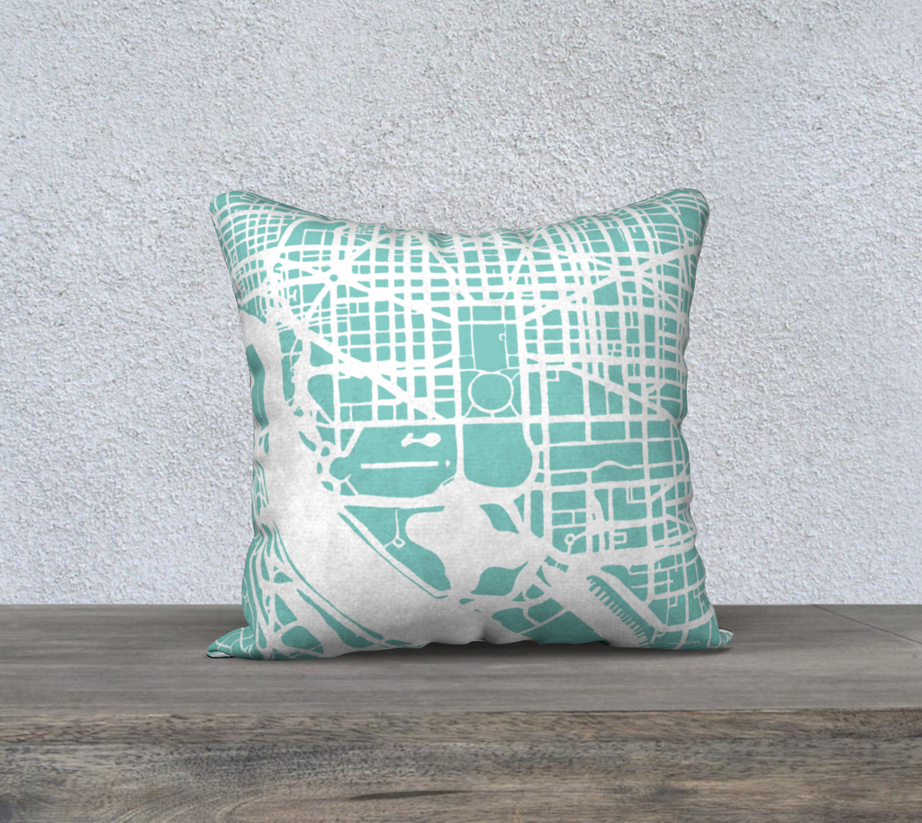 Washington DC Map Pillow Cover in Tiffany