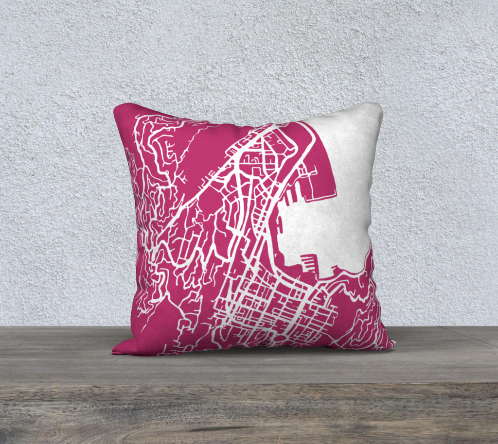 Wellington Map Pillow Cover in Magenta