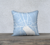 Skaneateles Map Pillow Cover in Sky Blue